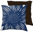 Kelso 18X18 Blue White Flowers Floral Botanical Brown Back Cushion Case Throw Pillow Cover