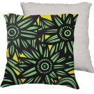 Schebel 18X18 Yellow Black Flowers Floral Botanical White Back Cushion Case Throw Pillow Cover
