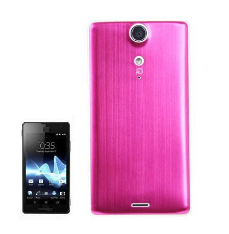 Metal Brushed Style Plastic Replacement Battery Cover for Sony Xperia TX / LT29i(Magenta)
