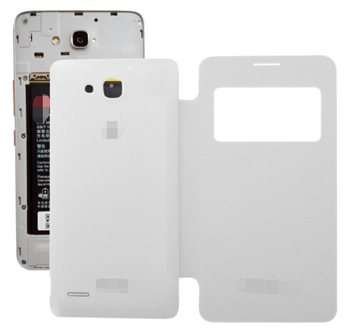 Replacement Back Cover with Flip Leather Case for Huawei Honor 3X(White)