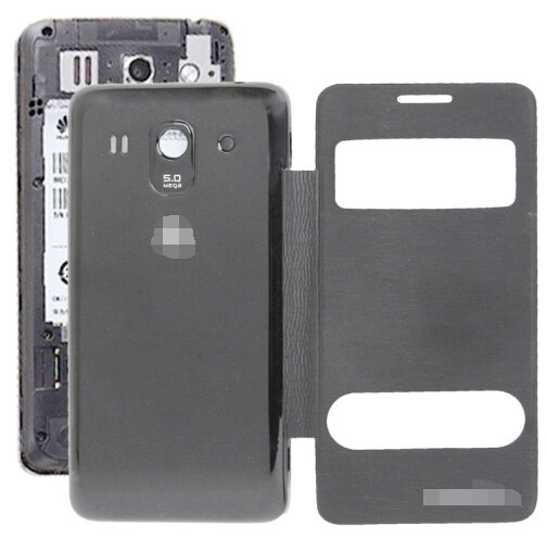 Cloth Texture Horizontal Flip Leather Case + Plastic Back Cover for Huawei Ascend G520 (Black)