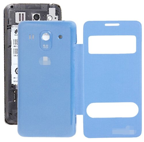 Cloth Texture Horizontal Flip Leather Case + Plastic Back Cover for Huawei Ascend G520 (Blue)