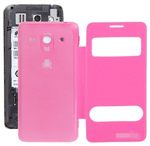 Cloth Texture Horizontal Flip Leather Case + Plastic Back Cover for Huawei Ascend G520 (Magenta)