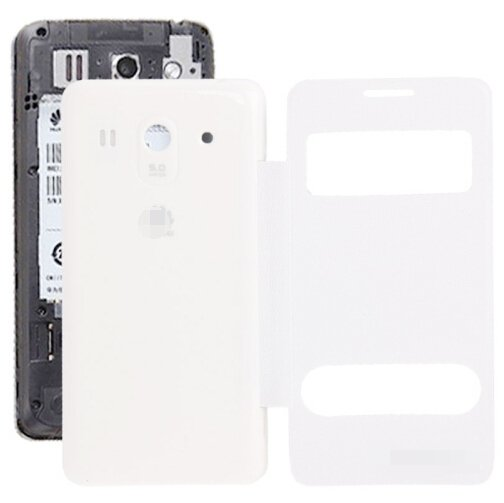 Cloth Texture Horizontal Flip Leather Case + Plastic Back Cover for Huawei Ascend G520 (White)