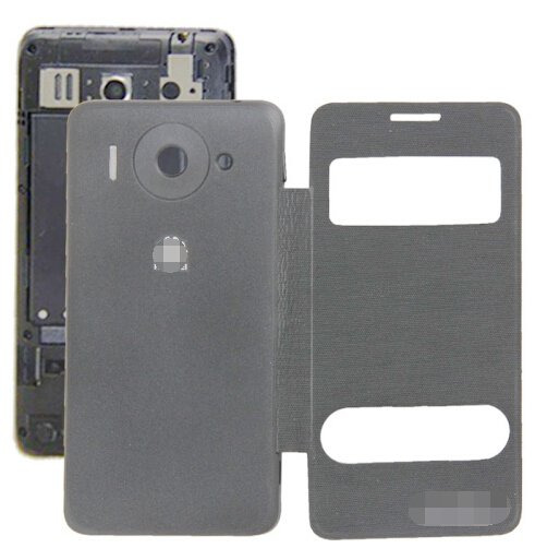 Cloth Texture Horizontal Flip Leather Case + Plastic Back Cover for Huawei Ascend G510 (Black)