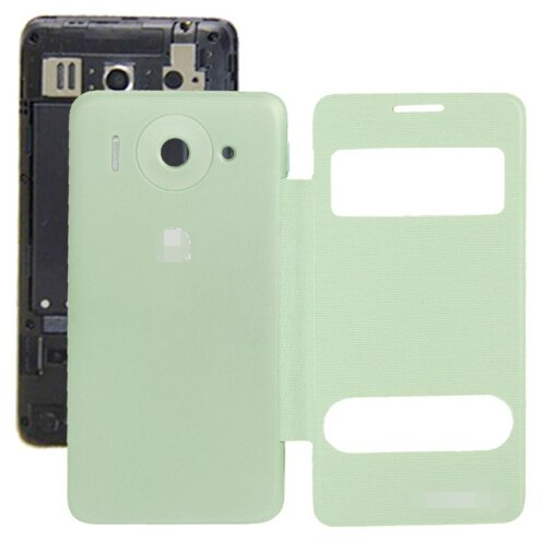 Cloth Texture Horizontal Flip Leather Case + Plastic Back Cover for Huawei Ascend G510 (Green)