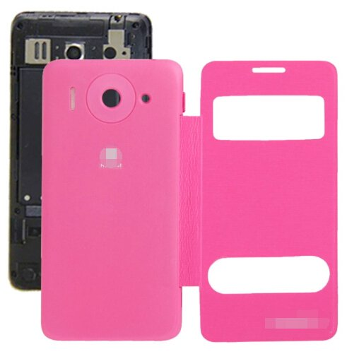Cloth Texture Horizontal Flip Leather Case + Plastic Back Cover for Huawei Ascend G510 (Magenta)