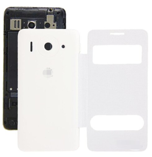 Cloth Texture Horizontal Flip Leather Case + Plastic Back Cover for Huawei Ascend G510 (White)