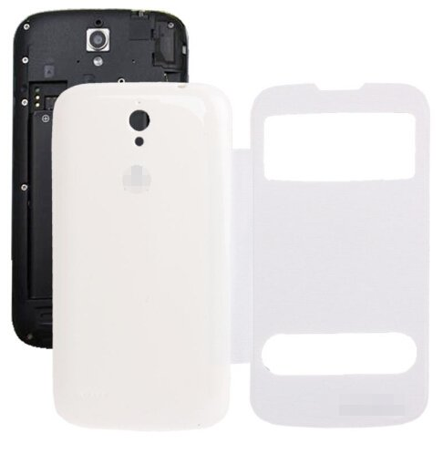 Cloth Texture Horizontal Flip Leather Case + Plastic Back Cover for Huawei Ascend G610S (White)