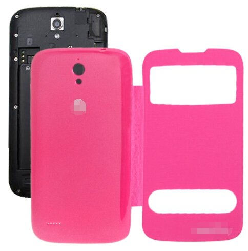 Cloth Texture Horizontal Flip Leather Case + Plastic Back Cover for Huawei Ascend G610S (Magenta)