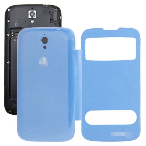 Cloth Texture Horizontal Flip Leather Case + Plastic Back Cover for Huawei Ascend G610S (Blue)
