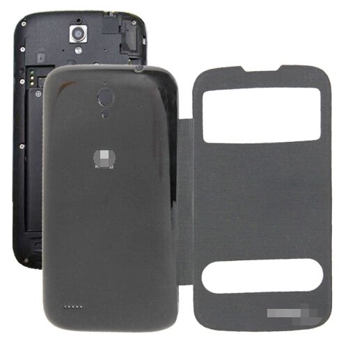 Cloth Texture Horizontal Flip Leather Case + Plastic Back Cover for Huawei Ascend G610S (Black)