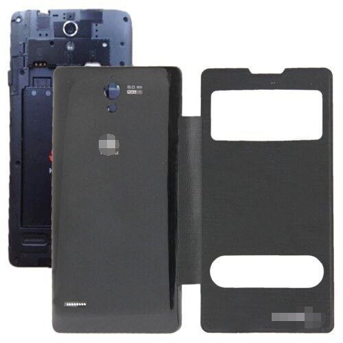 Cloth Texture Horizontal Flip Leather Case + Plastic Back Cover for Huawei Ascend G700 (Black)