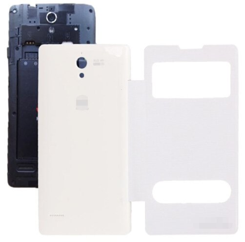 Cloth Texture Horizontal Flip Leather Case + Plastic Back Cover for Huawei Ascend G700 (White)