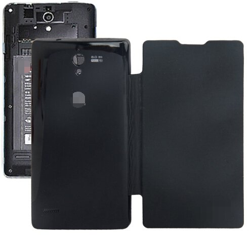 Horizontal Flip Back Cover / Replacement Leather Case for Huawei G700 (Black)