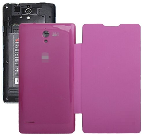 Horizontal Flip Back Cover / Replacement Leather Case for Huawei G700 (Magenta)