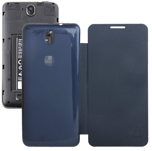 Horizontal Flip Back Cover / Replacement Leather Case for Huawei G606 (Dark Blue)