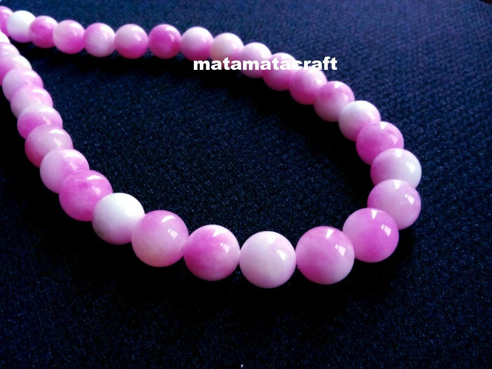 "Natural chalcedony jade, pink and white beads, 12mm 1/2"", jewelry making, 1 strand 15"" 390mm"