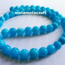 "1 strand sea blue natural chalcedony jade quartz beads, 8mm 3/10"", for jewelry making"