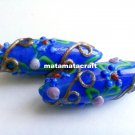 2 pcs handmade glass tube bead 45mm x 14mm spacer button cobalt blue jewelry making sewing
