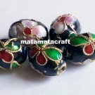 5 pcs vintage retro style cloisonne enamel oval drum shaped beads spacer black