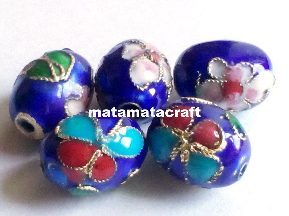 5 pcs vintage retro style cloisonne enamel oval drum shaped beads spacer dark blue