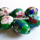 5 pcs vintage retro style cloisonne enamel oval drum shaped beads spacer green