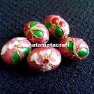 5 pcs vintage retro style cloisonne enamel oval drum shaped beads spacer pink