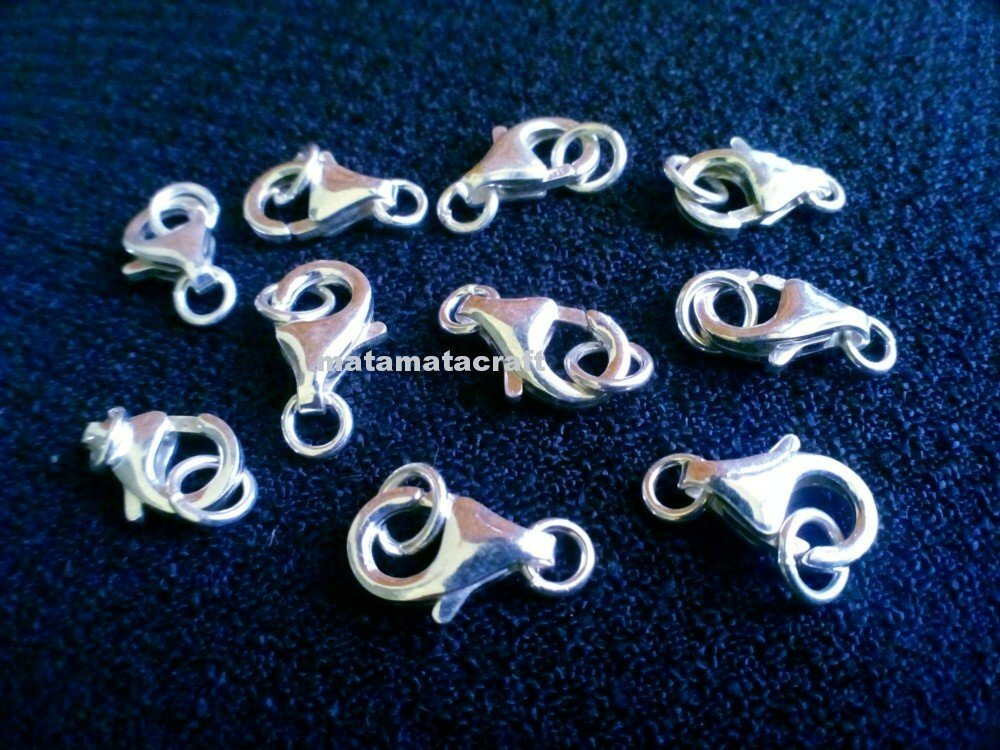5 pcs of  Lobster Claw Clasps, 925 silver, 13mm x 7mm x 2.5mm Jewelry Making Findings