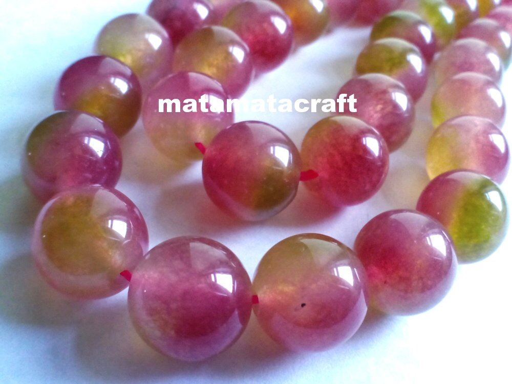"""1 strand crystal, chalcedony, quartz beads, watermelon green red colored, 10mm 2/5"""""""