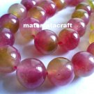 1 strand crystal, chalcedony, quartz beads, watermelon green red colored, 10mm 2/5""