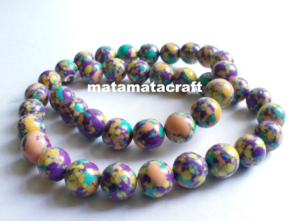 "1 strand limestone beads, multi color, colorful beads, 10mm 2/5"", for jewelry making"