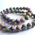 """1 strand limestone beads, multi color, colorful beads, 10mm 2/5"""", for jewelry making"""