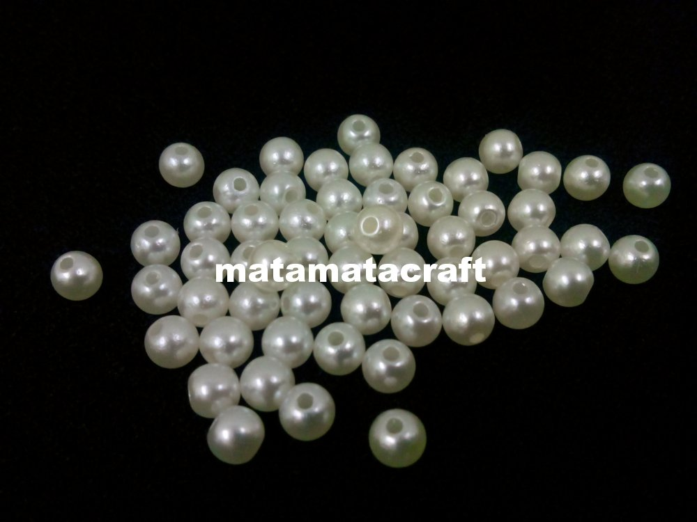 "120g plastic imitation faux pearls 6mm 1/5"" ivory cream color for jewelry making sewing craft"