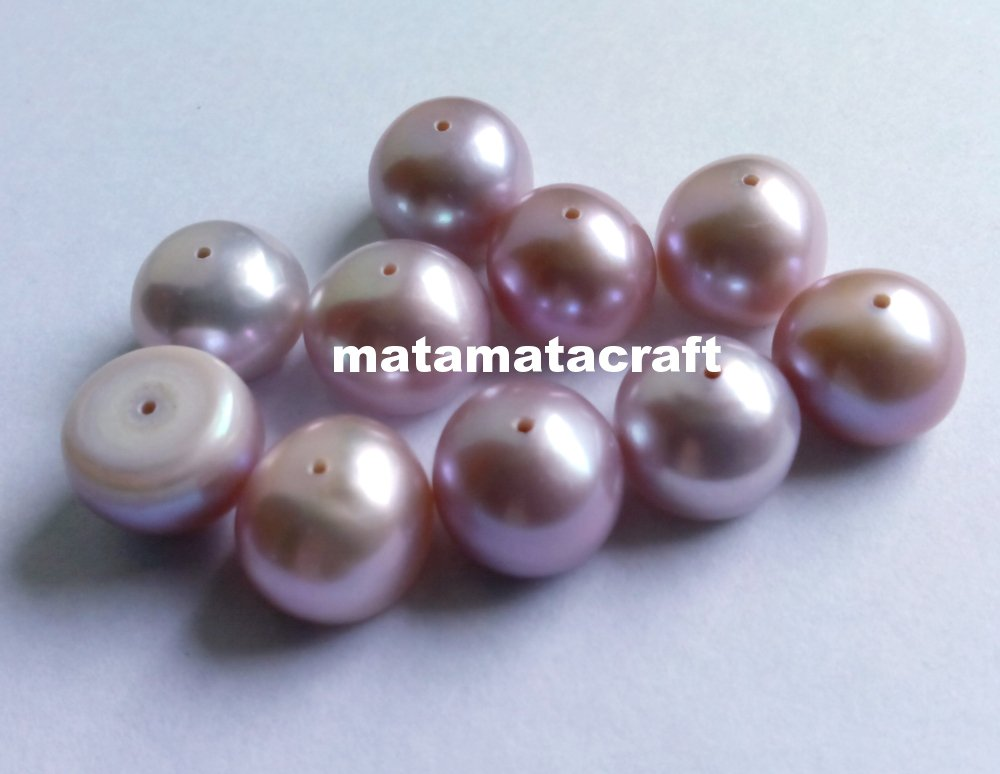 "dome shaped flat bottom freshwater pearl beads, purple color, 10 mm 2/5"" for jewellery making"