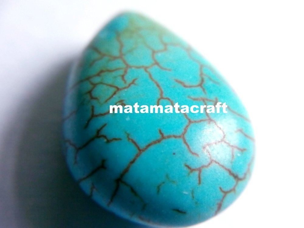 teardrop shaped howlite turquoise beads, sky blue, 14 mm x 19 mm for jewellery making