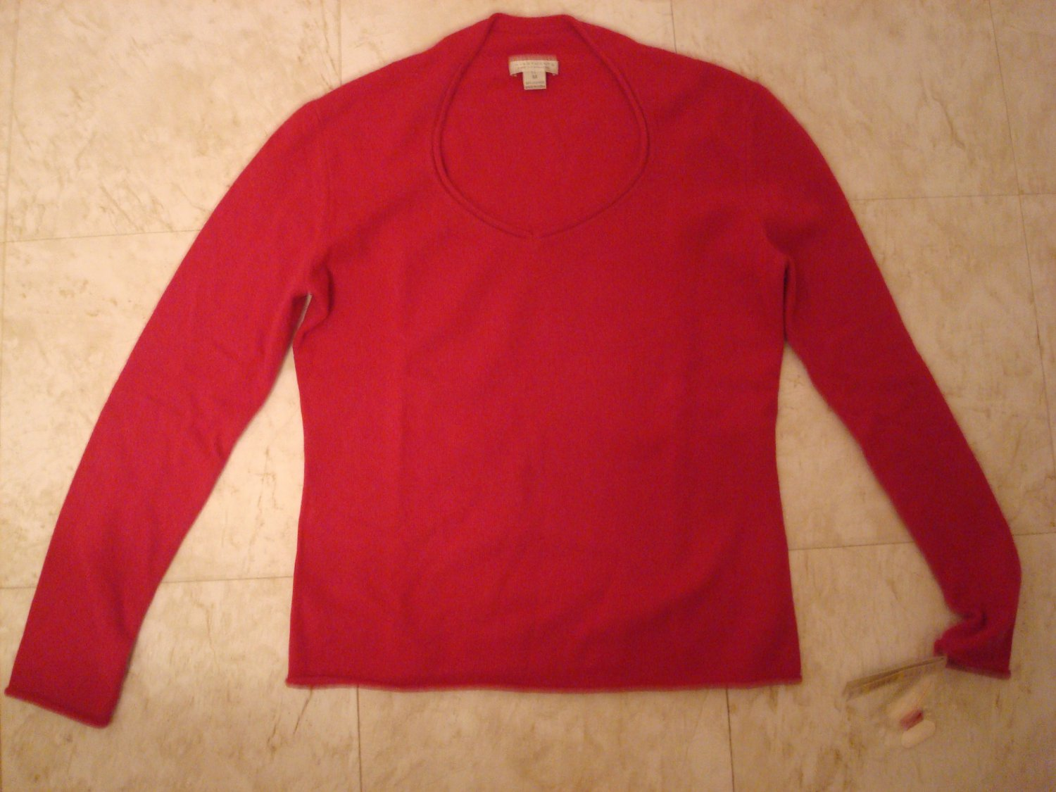 Medium 100% 2-Ply Cashmere Magenta Pink Sweetheart Neck Sweater $129 NWT