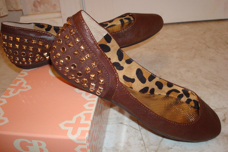 Gianni Bini 8 .5 M Brown Leather Flats Shoes NIB