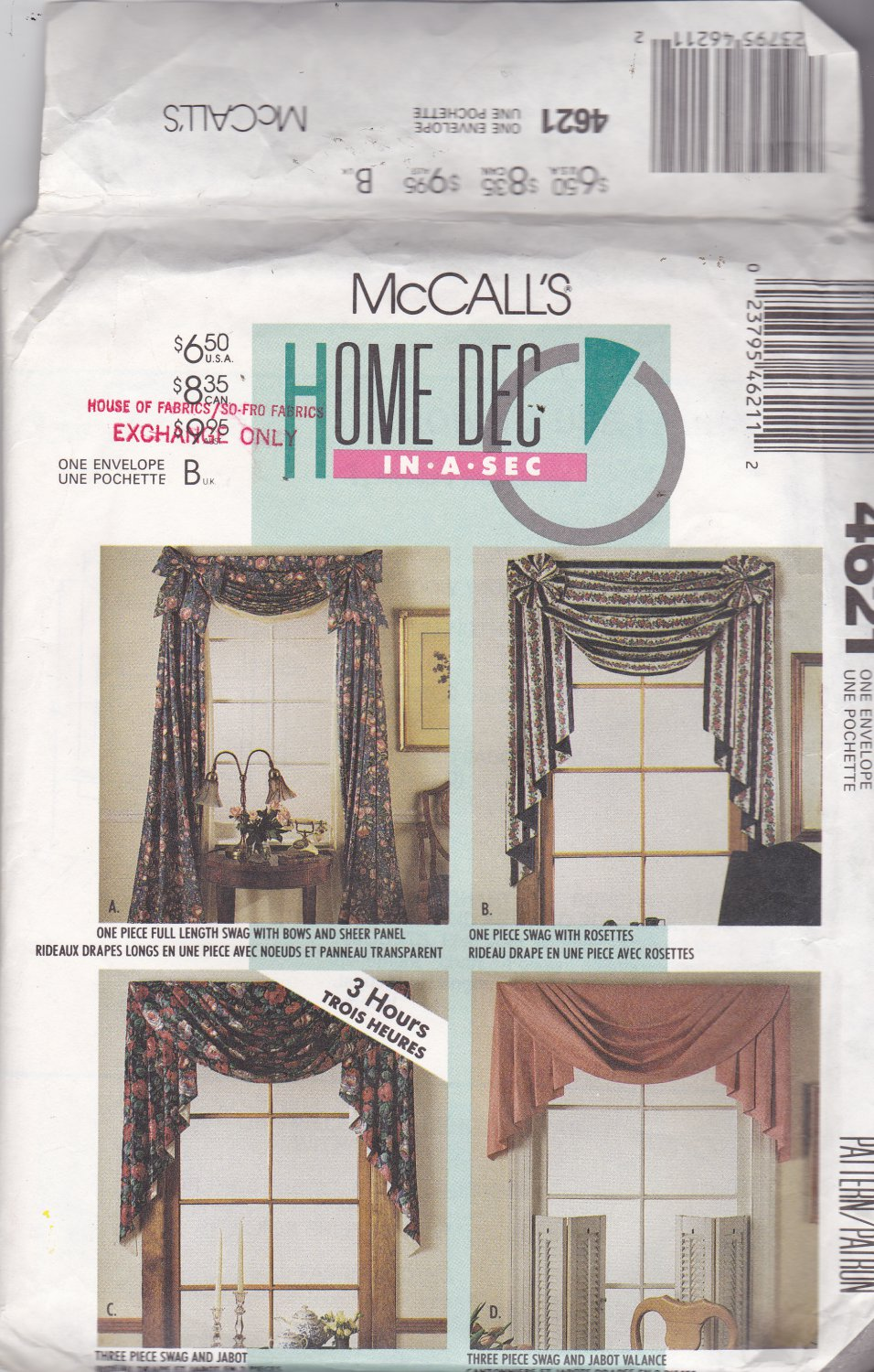 McCall's 4621 Window Treatments, may be missing pieces