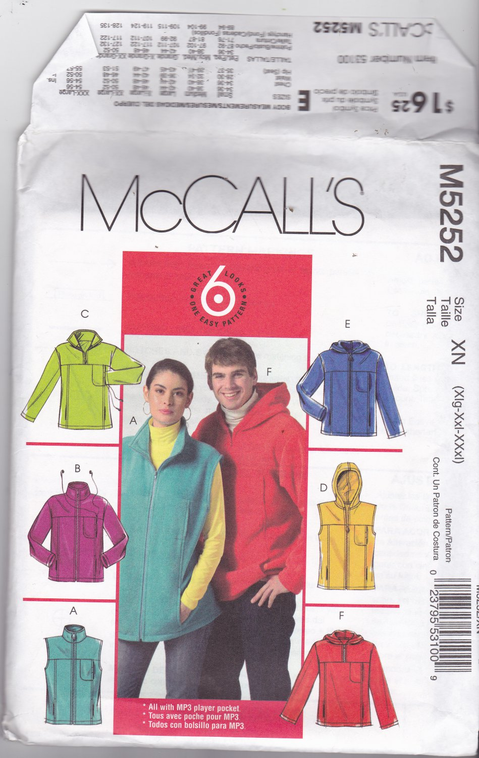 McCall's M5252 Men Women xl 46 48, may be missing pieces