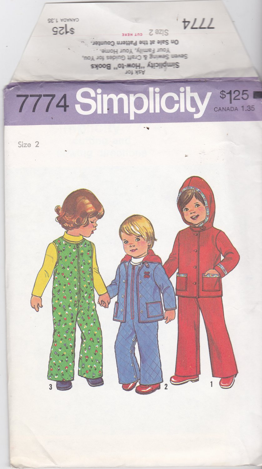 Simplicity 7774 Girls Boys Children Toddlers Size 2, may be missing pieces