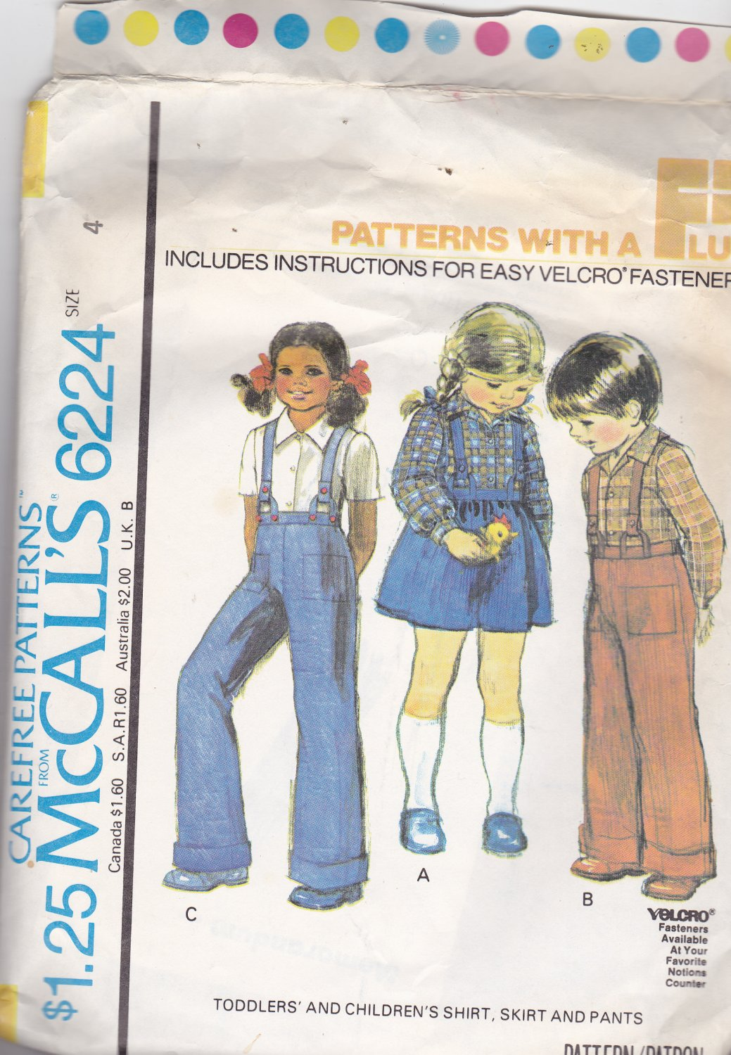 McCall's 6224 Girls Toddlers Size 4, may be missing pieces