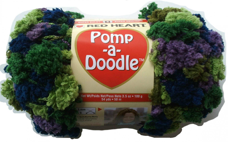 Pomp A Doodle Yarn Red Heart 3.5 oz 54 yards African Violet 9960 Super Bulky 6 Pom Pom Green Purple