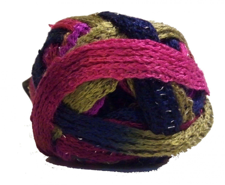Sashay Yarn 3.5 oz 30y Mambo 1937 Super Bulky 6 Ruffle Scarf Yarn Blue Green Fuchsia Purple