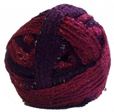 Sashay Yarn 3.5 oz Tango 1943 Super Bulky 6 Ruffle Scarf Yarn Red Fuchsia Purple Sparkly