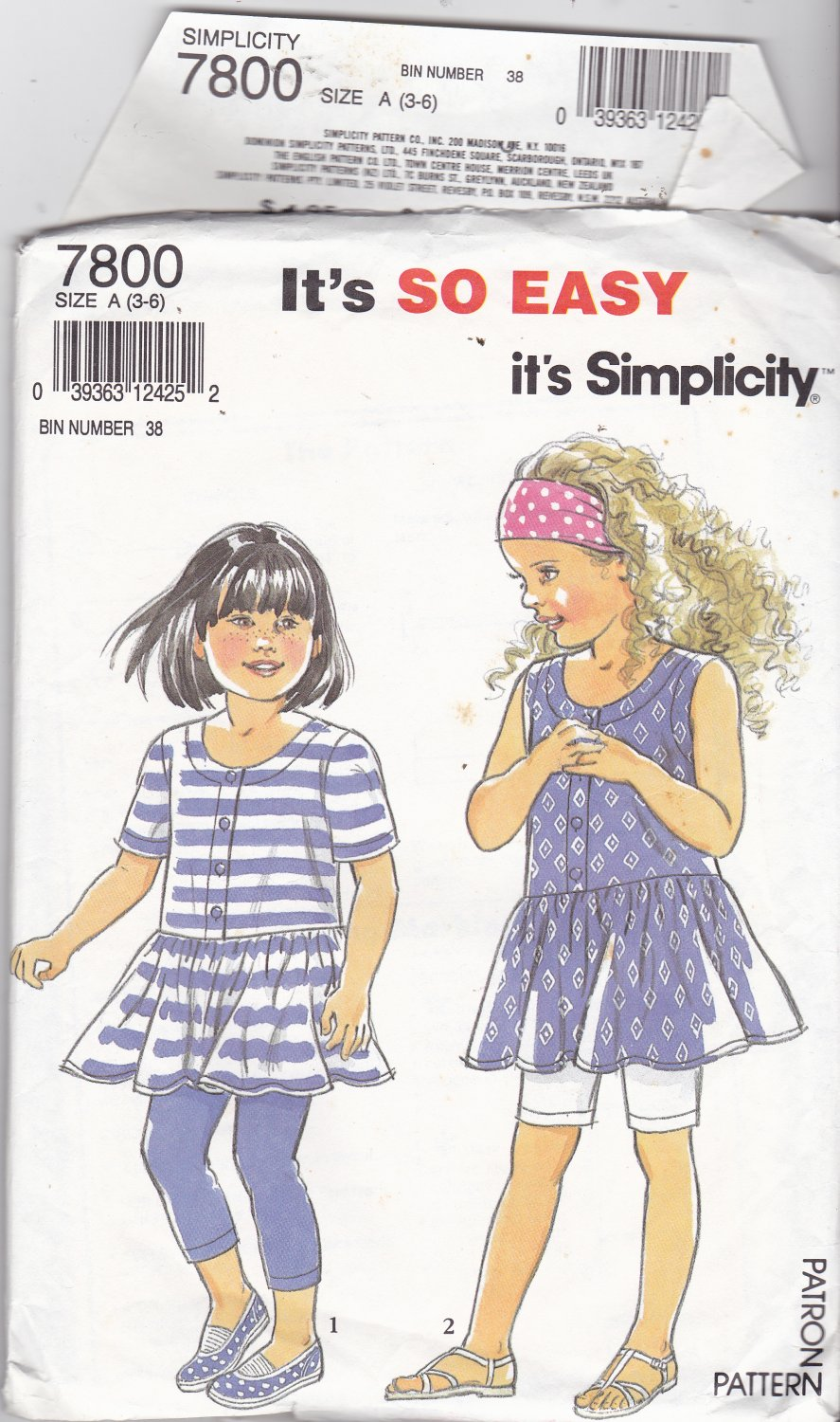 Simplicity 7800 Girls Size 3 4 5 6, may be missing pieces