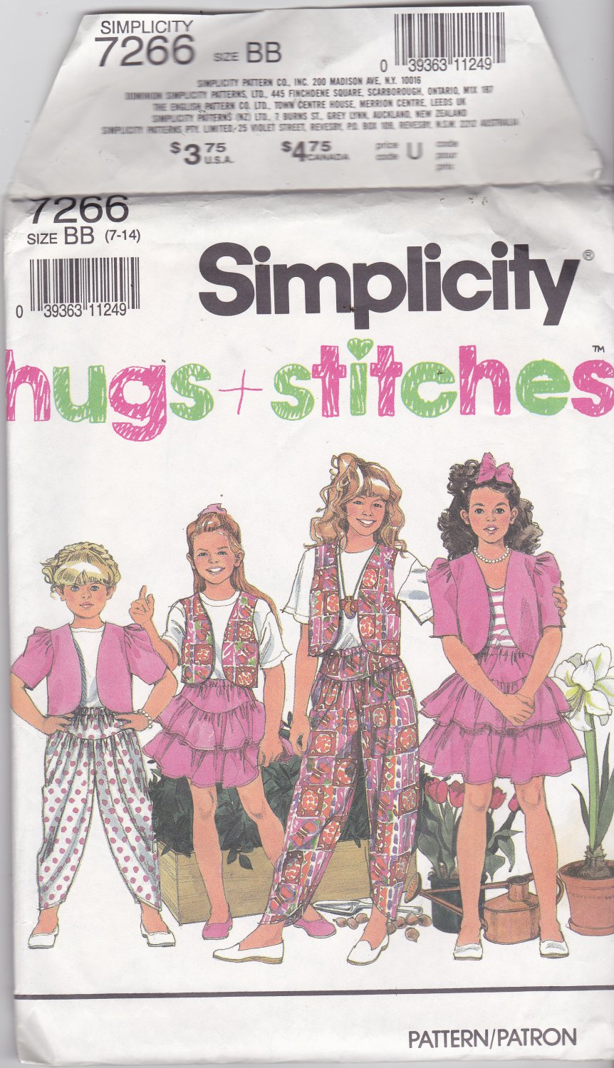 Simplicity 7266 Girls Size 7, may be missing pieces