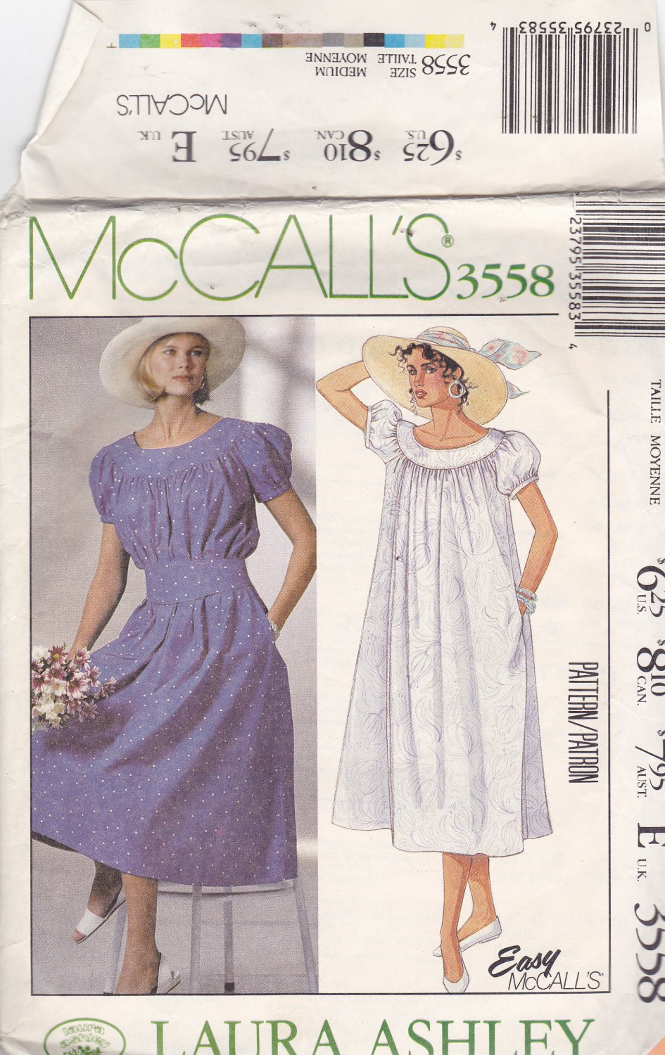 McCall's 3558 size medium (14 16) Laura Ashley, may be missing pieces