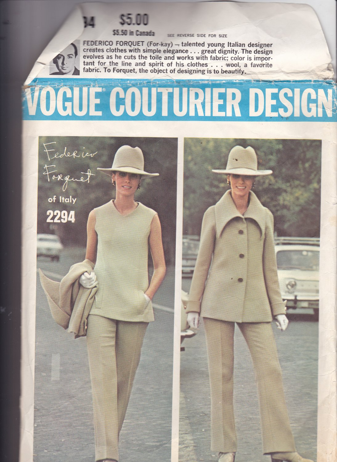 Vogue 2294 size 8, missing piece 18 (cuff) and pages 3 and 4 of the instructions
