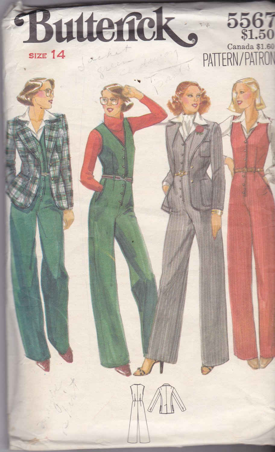 Butterick 5567 size 14, may be missing pieces, 50 cents plus shipping